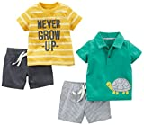 Simple Joys by Carter's Baby Boys' 4-Piece Playwear Set, Yellow Stripe/Green Turtle, 18 Months