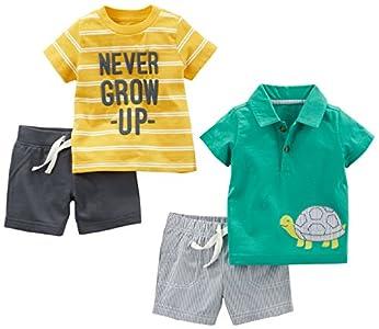 Simple Joys by Carter's - Juego de ropa de juego para niños (4 piezas) ,Yellow Stripe/Green Turtle ,12 Months