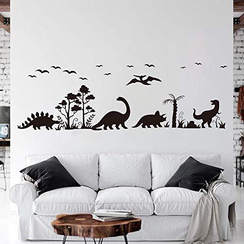 Muurkunst grote dinosaurus boom vogel muur Decal-Dino T-rex Decal-Jurassic Park bos dinosaurus natuur Vinyl muur Sticker-woonkamer gemakkelijk aan te brengen