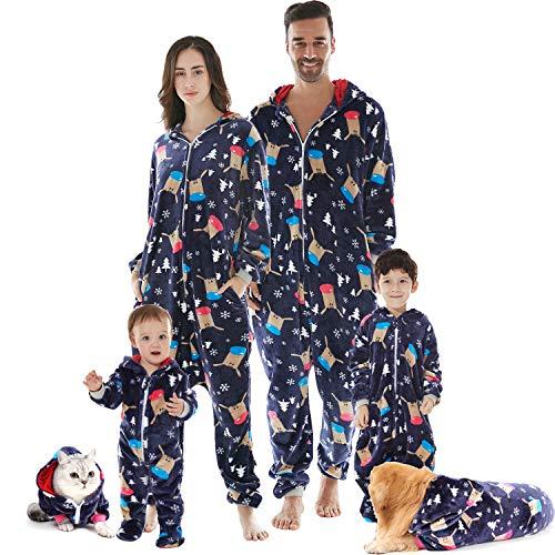 HORSE SECRET Pijama Hombre Mujer, Pijama en Tejido Franela Polar Suave y cómodo para Toda la Familia, excelente para Invierno, Navy - Perro & Gato, XL