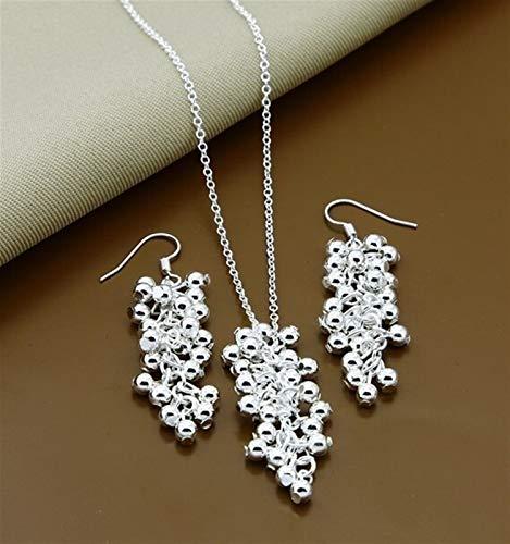Joyas de plata de las señoras conjuntos de la bola redonda de la moda simple conjuntos de pendientes para la joyería de la mujer *1* (Gem Color : 5)