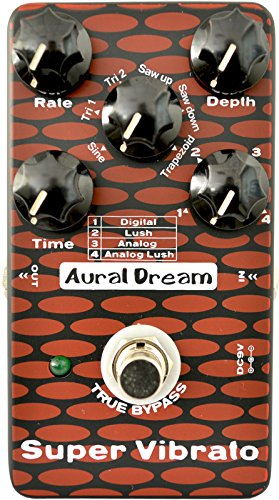 Aural Dream Super Vibrato Guitar Effect Pedal includes 4 Vibrato modes and 6 modulation waveforms reaching 24 effects,True bypass.