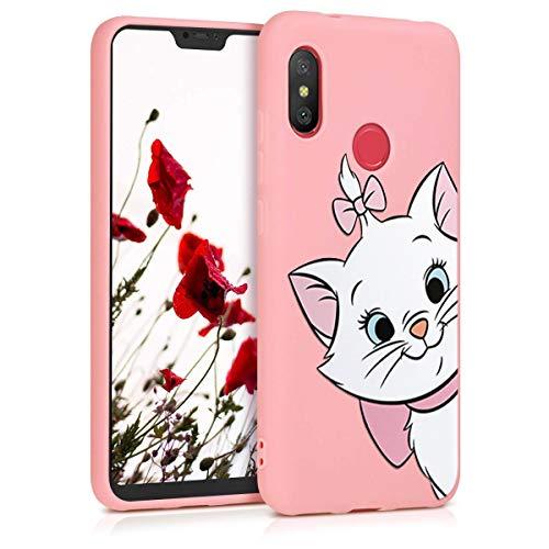 ZhuoFan Funda Xiaomi Mi A2 Lite, Cárcasa Silicona Rosa con Dibujos Diseño Suave TPU Antigolpes de Protector Piel Case Cover Bumper Fundas para Movil Xiaomi Mi A2Lite / Redmi 6 Pro, Gato 01