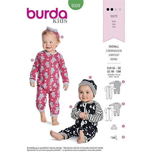 Burda 9328 Schnittmuster Overall, Mütze und Stirnband (Kids, Gr. 58-86) Level 2 leicht