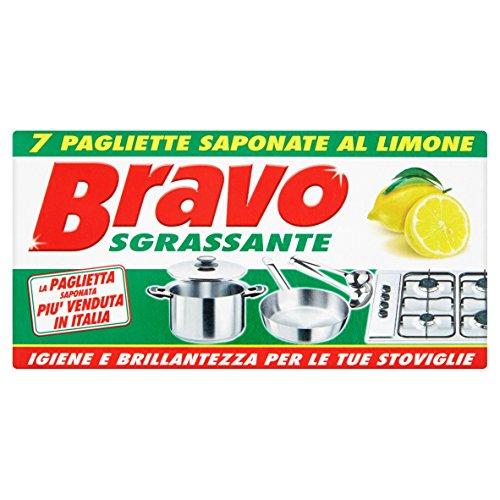 Bravo - Detergente per stoviglie e superfici dure, Sgrassante, al limone - 7 pagliette saponate