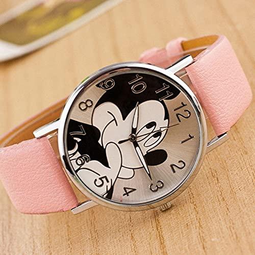 Relojes Reloj De Dibujos Animados DeModaBear Minnie Reloj De Mujer Relojes De Dibujos Animados De Niño Reloj De Pulsera De Cuarzo Unisex De Cuero De Imitación Rosa