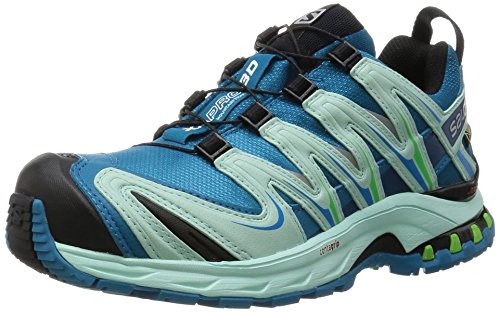 Salomon XA PRO 3D GTX, Scarpe da Trail Running Donna, Blu (Fog Igloo Blue/Tonic Green), 37 1/3 EU