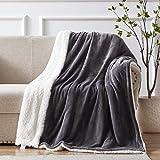 SEMECH Sherpa Throw Blanket Throw Size, Sherpa Fleece Throw Blanket Lightweight, Reversible Sherpa Blanket Machine Washable, 50' x 60', Charcoal Gray