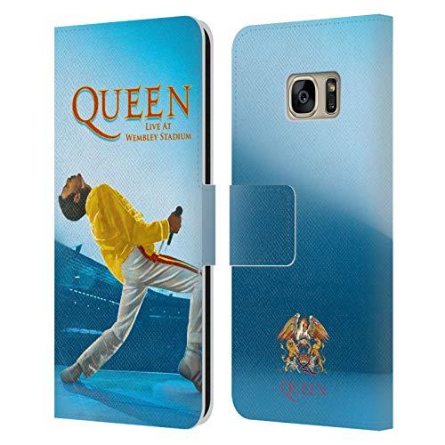 Head Hülle Designs Offizielle Queen Freddie Mercury Live at Wembley Kunst Leder Brieftaschen Handyhülle Hülle Huelle kompatibel mit Samsung Galaxy S7