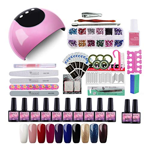 Saint-Acior 24W UV/LED Lámpara Secadora de Uñas Nail Dryer 10pcs Lámpara de Uñas Esmalte Semipermanente Soak-off 8ml Top Coat Base Coat Kit para Manicura