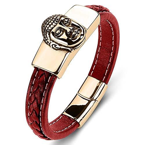 Punk armband van titanium staal voor dames en heren, rode boeddha-kop gouden tessuti A mano creatieve eenvoudige unieke retro dono ketting met polsriem 16.5cm