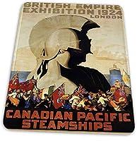 マウスパッド ゲーミングマウスパッド-カナダ太平洋汽船大英帝国展1924滑り止め デスクマット 水洗い 25x30cm