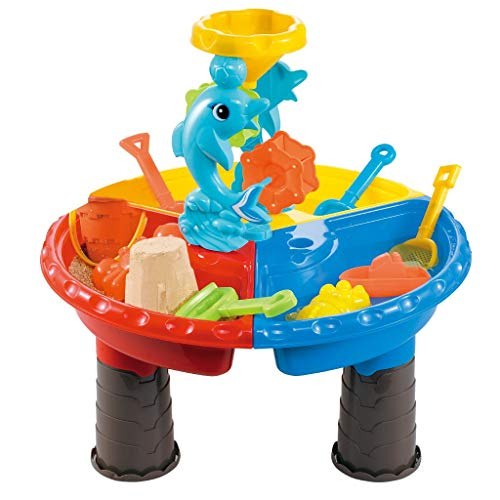 Infidev Sand Water Table for Kids, Toddler Sandbox Activity Table with Tool 2-in-1 Sand and Water Table Beach Outdoor 23 Pcs Toys, Best Birthday for Toddlers 2-4 Year Old (Multicolour)