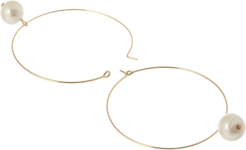 [Hirizu] HRYS [USA 14KGF gold filled] nickel lead free 8mm cotton Pearl fine hoop earrings SGF 0018 (gold)