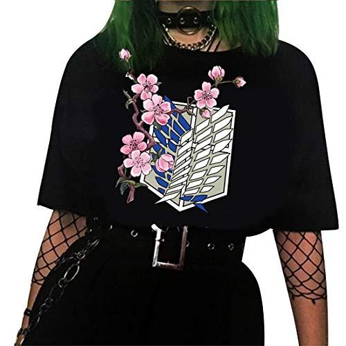 Morken Attack On Titan Tshirt Damen Teenager Mädchen AOT Scouting Legion Aufklärungstrupp Anime 3D T-Shirts Ackerman Eren Mikasa Kurzarm Blusen Shirt Sommer Oberteile Tops