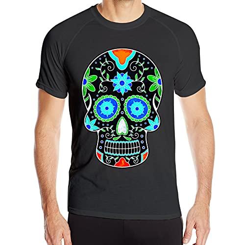 Herren T-Shirt Dia De Los Muertos Fun Skull Neon Floral Mexikanisches Muster Mode Athletic Kurzarm T-Shirts Rundhals Shirts Gr. XXL, Schwarz