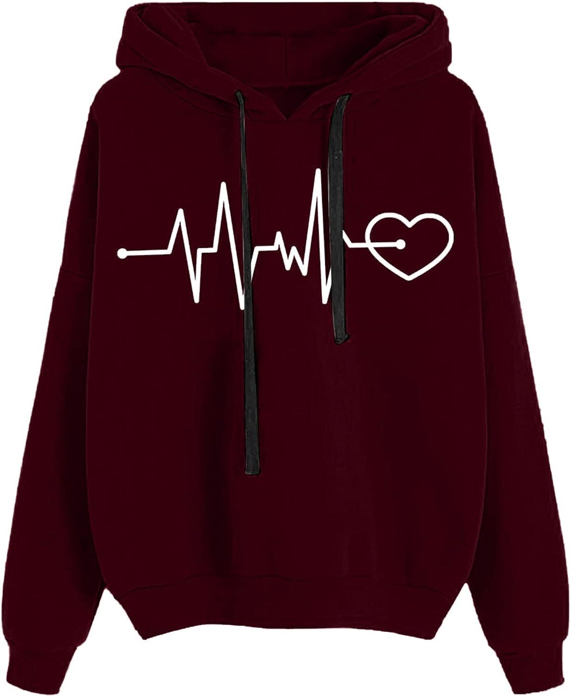 HIRIRI Pullover Hoodies for Women Cheap mail order shopping Heartbeat Lightweight Dedication Printing