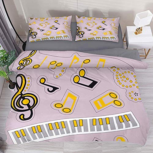 Moily Fayshow Nota Funda nórdica para Piano Juego de 3 Piezas Sábanas Impresas Juego de sábanas para Colcha de Cama con 2 Fundas de Almohada Fundas