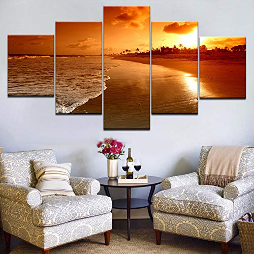 SDBY 5 Canvas Wall Painting Wall Paintings Beach Sunset Landscape Canvas Painting Print Poster Framed Decor WallPrint on Canvas