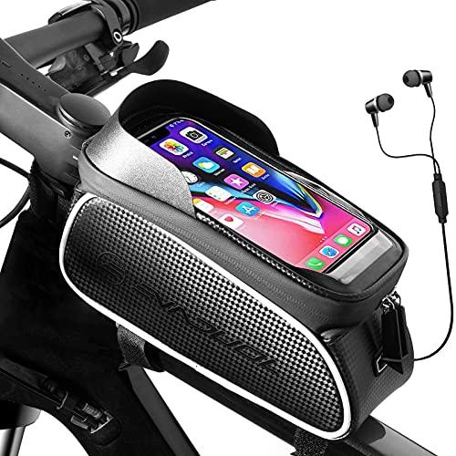 """Evaduol Bolsa de Bicicleta Impermeables - Bolsa de Bicicleta Montaña con Pantalla Táctil de TPU Gran Capacidad Con Parasol Orificio para Auriculares Compatible con Teléfono Inteligente Debajo 6.5"""""""