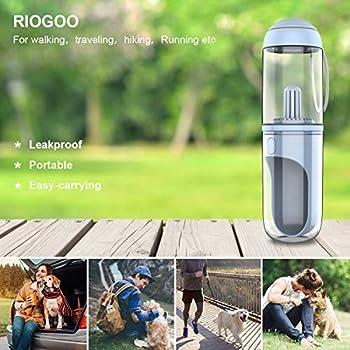 RIOGOO Bouteille d'eau pour Chien - Distributeur d'eau réversible et léger Bouteille en Silicone de qualité Alimentaire sans BPA pour Chiens et Chats (Blue)