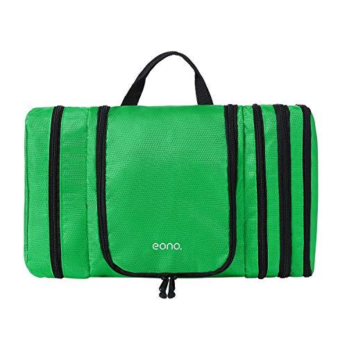 Eono by Amazon - Reise Kulturbeutel um Platz zu sparen wasserdichtes Hänge-Kit, Große Kosmetiktasche, Waschtasche, Waschbeutel zum Aufhängen für Männer und Frauen, Grün
