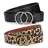 2 Pack Women Leather Belts for Jeans Pants ,WERFORU Ladies Plus Size Waist Belts with Double O-Ring Buckle,Suit for Pants Size 30-34 Inches,Black+Leopard