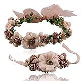 Banda para la cabeza de la flor Diademas de tela Corona de flores para niñas Coronas para la cabeza con cinta ajustable para mujeres y niñas para la fiesta del festival Boda