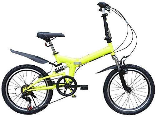 LEILEI Bicicletta Pieghevole Pieghevole da 20 Pollici - Maschio e Femmina - Biciclette per Adulti - Bambini Studenti Acciaio al Carbonio Anteriore e Posteriore Ammortizzatore Mountain Bike Giallo (
