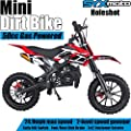 SYX MOTO Kids Mini Dirt Bike Gas Power 2-Stroke 50cc Motorcycle Holeshot Off Road Motorcycle Holeshot Pit Bike, Pull Start, Red by SYX MOTO