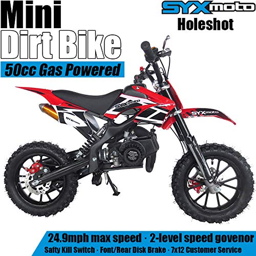 SYX MOTO Kids Mini Dirt Bike Gas Power 2-Stroke 50cc Motorcycle Holeshot Off Road Motorcycle Holeshot Pit Bike, Pull Start, Red