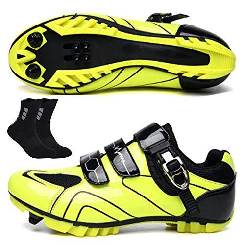 Zapatillas De Ciclismo MTB para Hombre Zapatillas Deportivas para Deportes Al Aire Libre Zapatillas De Bicicleta De Carretera Profesionales con Autobloqueo Zapatillas De Ciclismo,C-45EU