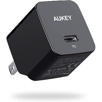 AUKEY 充電器 USB-C急速充電器 アダプタ 30W GaN (窒化ガリウム) 採用 折畳式/PD3.0対応 iPhone XS/XS Max/XR/X、GalaxyS9、MacBook Pro、iPad Pro、Nintendo Switchその他USB-C機器対応 PA-Y19 ブラック