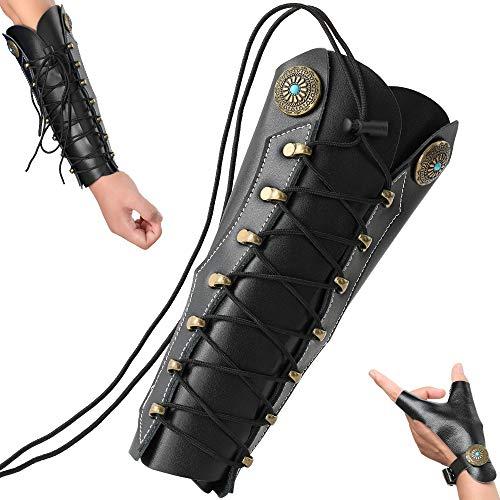 N   A Protector de brazo para tiro con arco, protector de brazo de piel de primera calidad para tiro con arco con 2 correas ajustables, guante de tiro tradicional para la mano izquierda