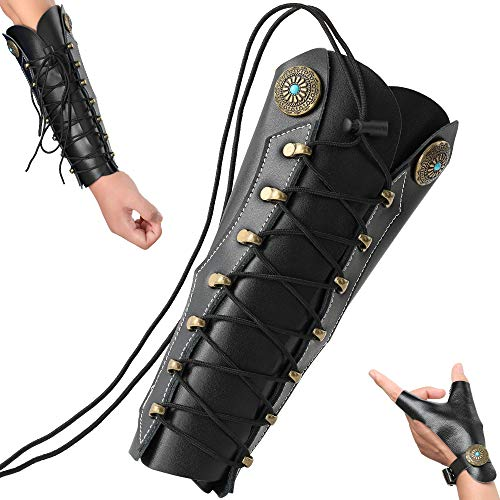 Protector de brazo para tiro de arco N / A, de piel, para tiro con arco con 2 correas ajustables, guante tradicional para la mano izquierda
