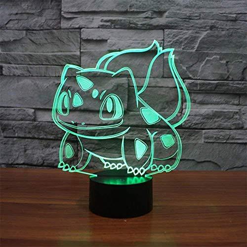 3D LED noche luz bulbasaur ilusión lámpara LED mesa ilusión lámpara decoración del hogar regalo de cumpleaños para niños - Crackle Base