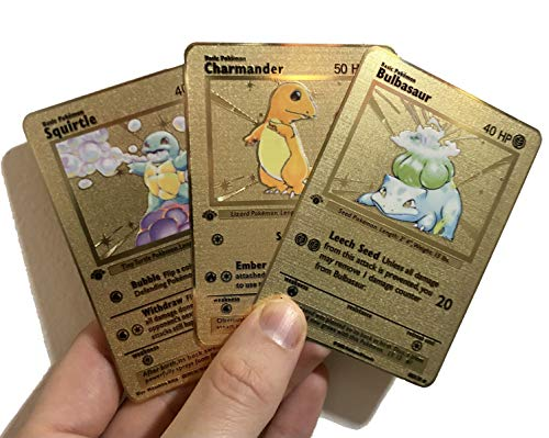 Charmander, Squirtle & Bulbasaur Base Set 1st Edition Custom Metal Pokemon Cards
