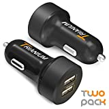 Trianium Car Charger 24W (2 Pack) Dual Charger Adapter, AtomicDrive SmartUSB Compatible iPhone 11 Pro Max/XR/XS Max/X/8/7/6/SE Plus, iPad Pro/Air2/Mini,Galaxy S20,Note 10,LG,Nexus, HTC,Huawei,and More