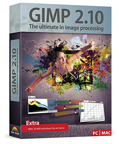 GIMP 2.10 - Graphic Design & Image Editing Software - this version includes additional resources - 20,000 clip arts, tech support, instruction manual - for Windows 10 / 8 / 7 / Vista / XP and MAC