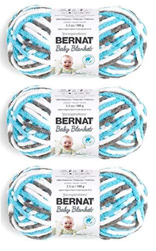 Bernat Baby Blanket Yarn, 3.5 Oz, Gauge 6 Super Bulky, Sail Away 3-Pack