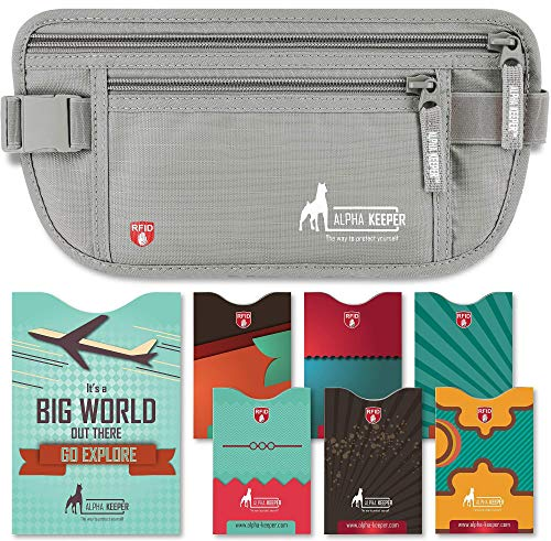 Money Belt for Travel - Slim Passport Holder Travel Pouch to Protect Your Important Papers and Money - Soft Innovative Rip-Stop Fabric, Secure and Water Resistant w/ RFID Blocking Sleeves Set