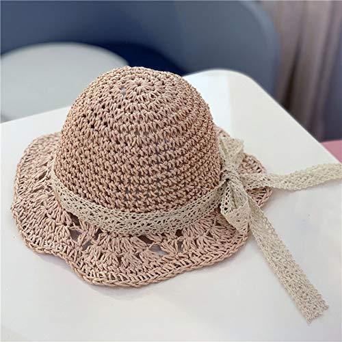 mlpnko Bebé Visera bebé niño Sombrero de Paja Princesa Playa Tejida a Mano Sombrero Protector Solar Plegable Sombrero para el Sol Playa Viaje Rosa 48 cm