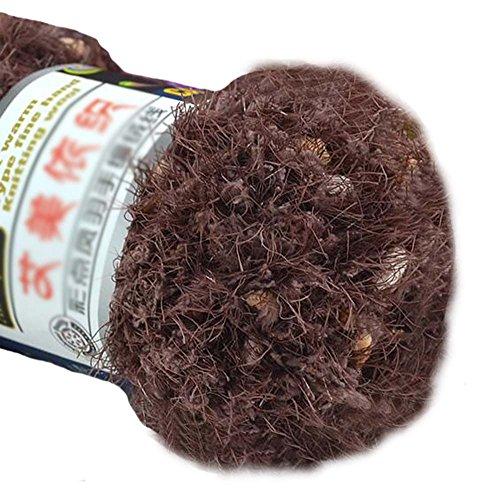 Ensemble de 3 fils tricotés de couleur Hairball Fils tissés tissés à la main, marron