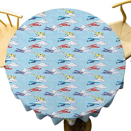 VICWOWONE Mantel de avión vintage – 35 pulgadas redondo mantel de mesa decoración Colorido Sketch Estilo Hélices Aviones Vacaciones Transporte Tema Impresión por una sola cara Multicolor