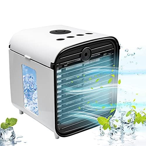 mini aire acondicionado,enfriador de aire 3 in 1,humidificador ventilador silencioso,climatizador portatil USB,3 Velocidades y 7 Colores LED,para Casa/Oficina/Camper/Garaje (Blanco)