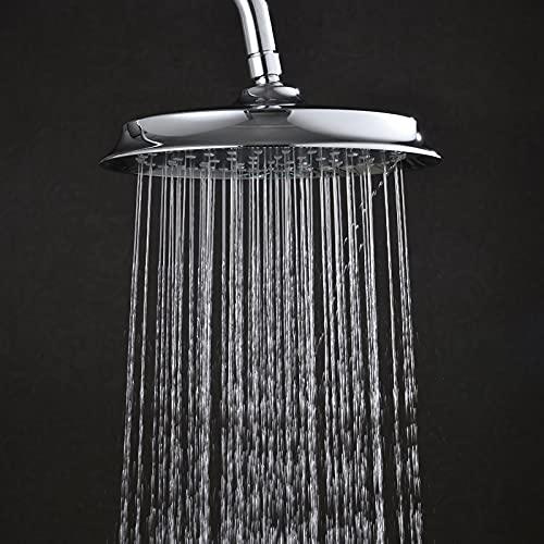 ALYHYB Cabezal de ducha de lluvia, cabezal de ducha redondo grande de alta presión, cabezal de ducha ABS con boquilla de autolimpieza, cromado cepillado