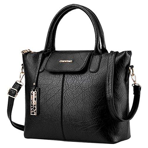 MissFox Cerniera Design Donna Retrò Elegante Borsa A Tracolla Della Fashion Bags Nero