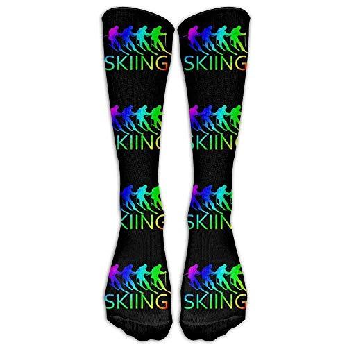 hgdfhfgd Skier Skiing Graphic Rainbow Men Women Crew Socks Comfort Tube Socks Unisex Trend 657