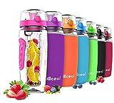 Borraccia per l'acqua con infusore per frutta,di grandi dimensioni,capacità: 946 ml, resistente, in plastica Tritan priva di bisfenolo A, con coperchio a scatto e design a prova di perdita (Pink)