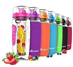 willceal water bottle with fruit insert 945 ml - high quality and durable - large, BPA-free, made of Tritan - hinged lid with handle - leak-proof design